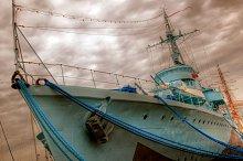 Old war ship in vintage mood