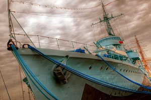 Old war ship in vintage mood