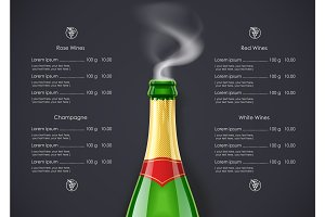 Champagne Wine bottle with smoke concept