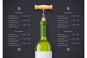 White Wine bottle, cork and corkscrew