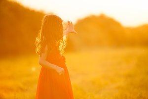 Free Happy child on golden Field