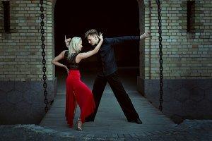 Dance of tango at night.