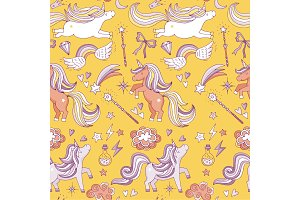 Seamless pattern with funny magic elements. Unicorn, wizard and miracle. Vector background