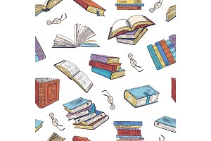 Different books from library. Doodle vector illustrations. Seamless pattern