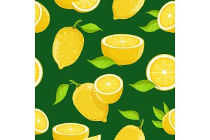 Lemon and different slices on dark background. Vector seamless pattern