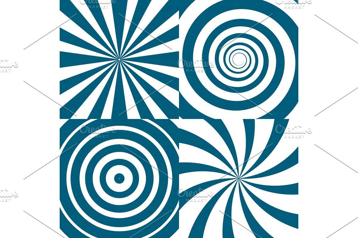 Vector set of twirls  Psychedelic circles and swirl