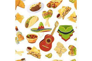 Mexican food vector seamless pattern on white background