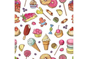 Vector seamless pattern of candies, ice cream, cake and other different sweets. Hand drawn illustrations