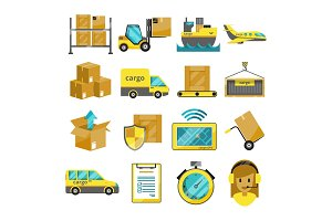 Cargo vector icon set isolated. Airplane, harbor ships, logistic conveyer