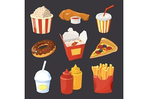 Vector collection of fast food pictures in cartoon style