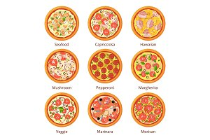 Classical italian food. Pizza top view in cartoon style. Vector illustrations isolated on white