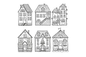 Cute little houses and different roofs. Doodle vector illustration of home