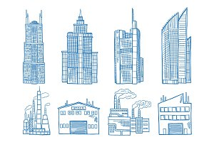Different modern building with offices, industry and factories hand drawn illustration