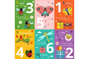Invitation cards for kids birthday with illustrations of funny insects and bugs. Vector pictures
