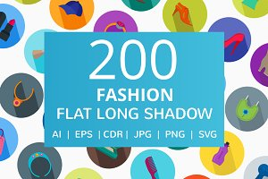 200 Fashion Flat Long Shadow Icons