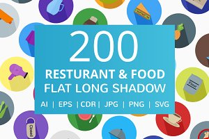 200 Restaurant & Food Flat Icons