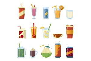 Illustration with non alcoholic drinks. Vector pictures in cartoon style