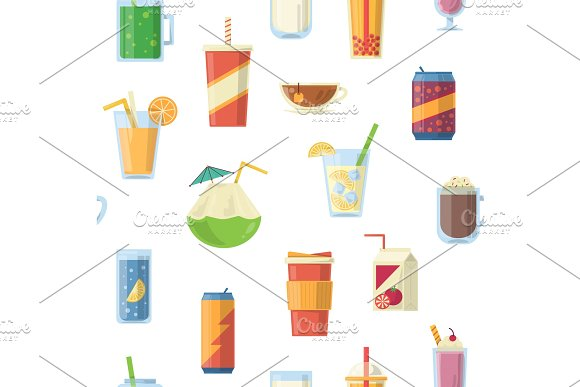 Vector seamless pattern with non alcoholic drinks. Vector illustrations