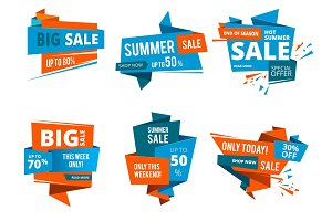 Geometrical design forms for banners of shopping price of. Big sales and special offers. Vector design set