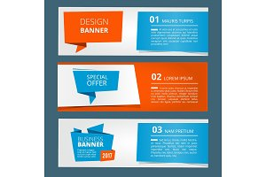 Three horizontal banners with abstract modern background and place for your text. Vector illustrations set