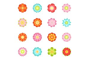 Cute floral vector illustrations in flat style. Flowering icon set of 70s
