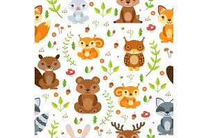 Vector seamless pattern of forest animals and summer plants