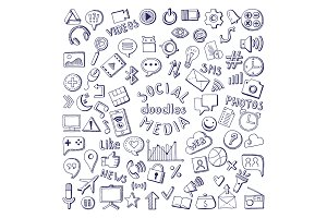 Social media hand drawn icons set. Computer and network doodle vector illustrations
