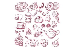 Tea and coffee different elements. Sweets, cupcakes. Hand drawn vector illustrations