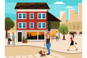 Urban illustration with walking people on the street. Road and buildings. Vector picture