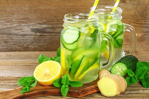 Sassy water. Fresh cool water with cucumber, lemon, ginger and mint. Detox and weight loss.