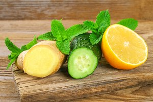 Ingredients for Sassy water cucumber, lemon, ginger and mint. Detox and weight loss.