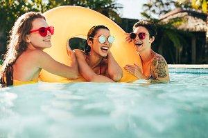 Female friends enjoying summer
