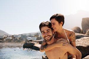 Tourist couple in romantic mood