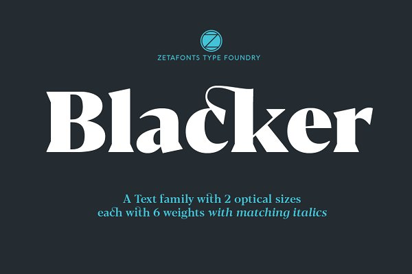 Fonts: Zetafonts - Blacker - 24 fonts 70% OFF!