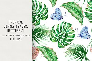 Tropical leaves,butterfly pattern
