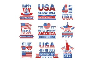 Fourth of July independence day logo set. Vector Labels of USA identity