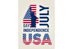 Poster for USA independence day. Vector design template of american 4 july retro placard