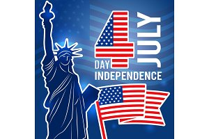 Independence day 4 july poster. Design template with Statue of Freedom USA placard with place for your text