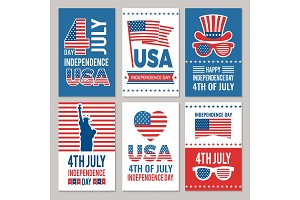 USA Independence day cards. Template of various 4 july labels of America identity