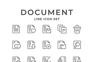 Set line icons of document