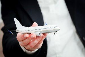 An airplane model in hand