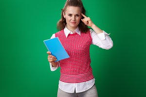 young student woman with blue notebook encouraging to think