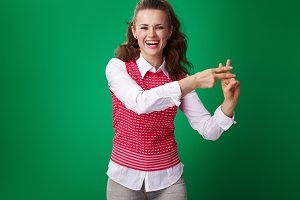 happy modern student woman showing hashtag gesture