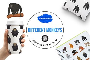Different monkeys icons set, cartoon