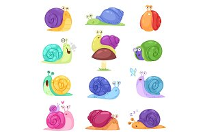 Snail vector snail-shaped character with shell and cartoon snailfish or snail-like mollusk kids illustration set of lovely snail-paced slugs isolated on white background