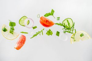 Creative layout with fresh salad ing