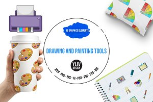 Drawing and painting tool icons set
