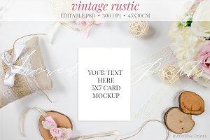 Vintage Rustic Invitation Mockup