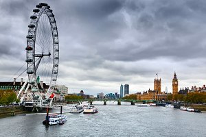 London Eye on River Thames, England