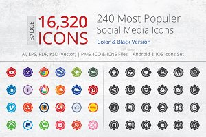 240 Badge Social Media Icons